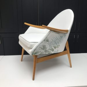 1950's cocktail chair covered in designer fabric from Jane Churchill